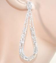 ORECCHINI ARGENTO strass cristalli donna pendenti goccia ovali sposa eleganti F5