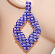 ORECCHINI BLU ARGENTO donna cristalli pendenti ovali strass cerimonia eleganti kolczyki BB64