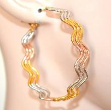 ORECCHINI cerchi donna argento oro dorato rosa ondulati semi rigidi eleganti H12