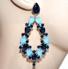 ORECCHINI cristalli BLU AZZURRI donna gocce pendenti strass eleganti earrings BB18
