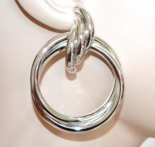 ORECCHINI donna argento cerchi pendenti metallo lucido intrecciati earrings BB35
