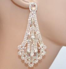 ORECCHINI donna ARGENTO cristalli pendenti lunghi strass trasparenti pendientes BB62