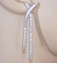 ORECCHINI donna ARGENTO cristalli strass pendenti lunghi brillantini zirconi sposa D16
