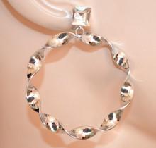 ORECCHINI donna ARGENTO cristallo cerchi pendenti ondulati brincos Creolen hoops earrings CC225