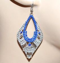 ORECCHINI donna argento strass perline blu etnici pendenti ragazza regalo CC93