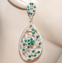 ORECCHINI donna ARGENTO STRASS VERDI pendenti cristalli platino boucles CC214