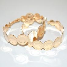 ORECCHINI donna cerchi oro dorati lucidi ondulati ragazza boucles A34