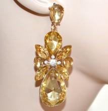 ORECCHINI donna CRISTALLI ORO AMBRA strass ragazza pendenti eleganti earrings CC16
