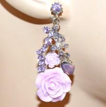 ORECCHINI donna LILLA GLICINE argento pendenti fiori strass cristalli Ohrringe BB6