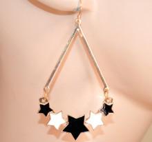 ORECCHINI donna ORO BIANCO NERO pendenti stelle ciondoli dorati ragazza pendientes CC223