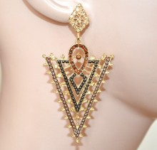 ORECCHINI donna oro dorati bronzo marroni strass perline pendenti eleganti pendientes CC158