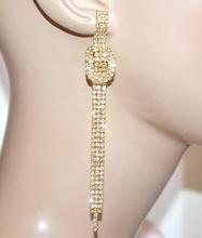 ORECCHINI donna oro dorati fili strass pendenti lunghi eleganti cerimonia A29