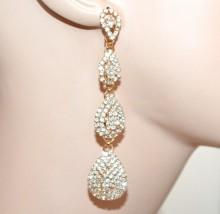 ORECCHINI donna ORO dorato gocce pendenti strass cristalli eleganti boucles F70X