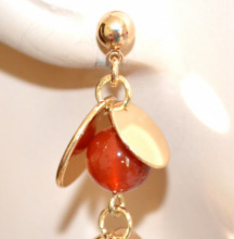 ORECCHINI donna ORO dorato pietre charms perle rosse nere ciondoli pendientes earrings GP10