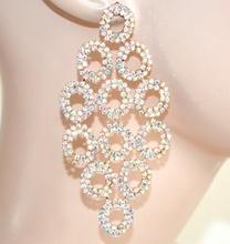 ORECCHINI donna ORO strass boreali cristalli cerchi pendenti eleganti sposa cerimonia F185