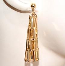 ORECCHINI donna pendenti oro dorato lucido semi rigidi eleganti cerimonia G2