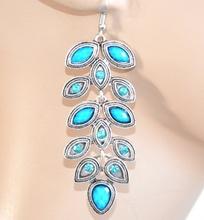 Orecchini etnici argento pietre strass azzurro donna ragazza pendenti F163