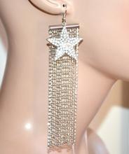 ORECCHINI fili pendenti lunghi argento donna ciondolo stella strass hängen G35