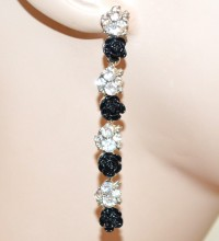 ORECCHINI NERI BIANCHI donna argento pendenti lunghi roselline cristalli trasparenti BB2