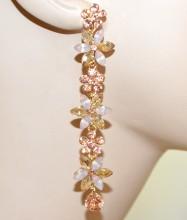 ORECCHINI oro ambra rosa corallo fiori cristalli donna pendenti lunghi eleganti G55