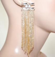 ORECCHINI ORO cristalli donna fili strass pendenti lunghi eleganti cerimonia boucles G52