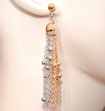 ORECCHINI oro dorato argento donna fili pendenti lunghi eleganti cerimonia boucles GP22