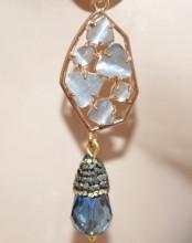 ORECCHINI ORO Pietre Grigio Occhio di Gatto Cristalli Blu donna bronzo pavè zirconi marcasite pendenti lunghi P4