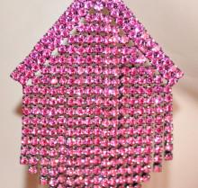 ORECCHINI ROSA FUCSIA donna STRASS multi fili pendenti lunghi cristalli cerimonia S82