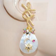 ORECCHINI STELLE MARINE donna MADREPERLA bianca Pietre multicolor oro bronzo dorato strass P38