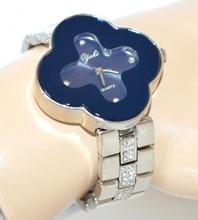 OROLOGIO donna argento blu acciaio donna da polso cinturino strass regalo F10