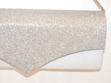 POCHETTE donna ARGENTO borsello elegante borsa brillantini da cerimonia sac F60