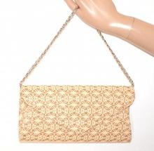POCHETTE donna BEIGE ORO borsello brillantini pizzo ricamata borsa elegante cerimonia bag E155