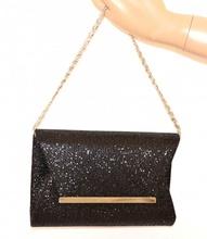 POCHETTE donna NERA borsello cerimonia brillantini borsa elegante clutch bag A8