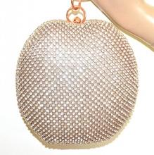 POCHETTE ORO ROSA donna borsello cuore strass clutch bag cristallo cerimonia G42