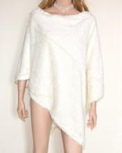 PONCHO MANTELLA BIANCA donna eco pelliccia coprispalle mantellina ragazza G53