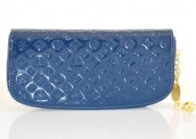 PORTAFOGLIO donna mini borsello BLU vernice ecopelle borsellino pochette catenina anelli Z9