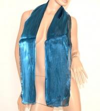 SCIARPA donna AZZURRO COBALTO maxi foulard pashmina metallizzata SCIARPETTA tinta unita scarf 15