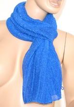 SCIARPA donna BLU BRILLANTINATA foulard scaldacollo pashmina scialle shimmer scarf écharpe шарф 5