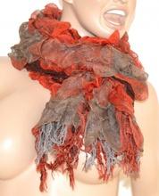 SCIARPA ROSSO GRIGIO donna scaldacollo frange écharpe pashmina шарф scarf schal bufanda 30