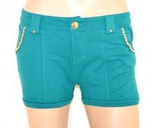 SHORTS donna VERDE pantalone pantaloncino corto sexy cintura oro perle F160