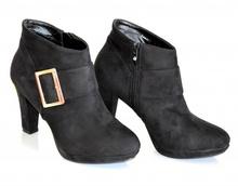 Stivali donna NERI tronchetti pelle stivaletti tacco alto fibbia oro bottes 700