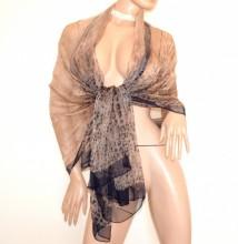 STOLA BEIGE SAFARI TORTORA donna 100% SETA foulard velato coprispalle scialle sciarpa scarf G78