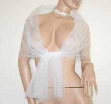 STOLA BIANCA donna foulard coprispalle velo scialle velato trasparente sciarpa white scarf G87