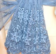 STOLA BLU donna coprispalle 50% SETA scialle foulard ricamato étole sjal A30