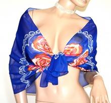 STOLA BLU donna foulard coprispalle velato fantasia floreale rose elegante A54
