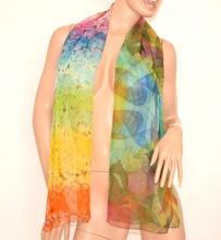 STOLA coprispalle donna verde azzurro giallo arancio rosa foulard cerimonia velata seta sciarpa fantasia elegante 160Z