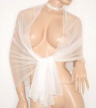 STOLA donna BIANCA brillantinata SPOSA elegante MAXI FOULARD SETA shimmer coprispalle cerimonia matrimonio 60X