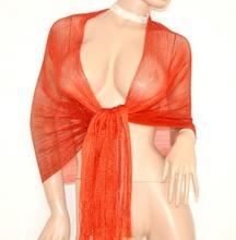 STOLA donna ROSSA elegante scialle MAXI FOULARD FILO frange coprispalle brillantinato da cerimonia 1020X