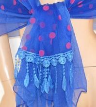 STOLA donna seta BLU foulard POIS FUCSIA elegante MAXI coprispalle da CERIMONIA velato da sera 45X