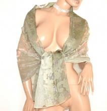 STOLA donna VERDE 50% SETA coprispalle scialle foulard ricamo velato elegante A10